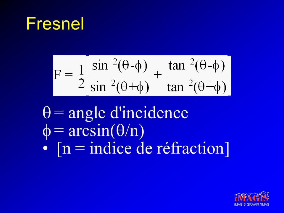 Fresnel = angle d incidence = arcsin(/n) [n = indice de réfraction]